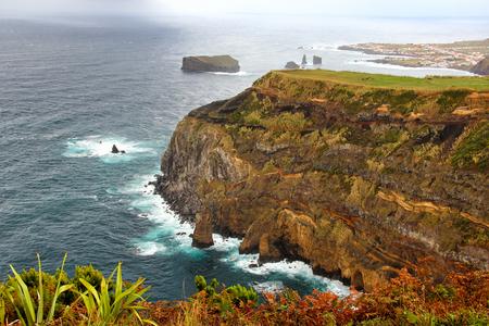 View of west coast of Sao Miguel island from viewpoint of Ponta do Escalvado, Azores, Portugal