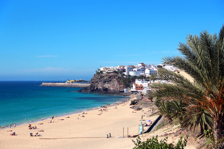 Beach and town of Morro Jable, Fuerteventura, Canary islands, Spain