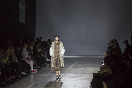 KYIV, UKRAINE - FEBRUARY 2, 2019: PRZHONSKAYA collection show during Ukrainian Fashion Week 19-20 at Mystetsky Arsenal in Kyiv