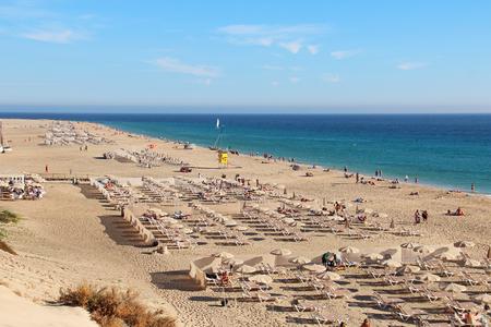 Long sandy beach in Morro Jable (Playa del Matorral), Fuerteventura, Canary islands, Spain Stock Photo
