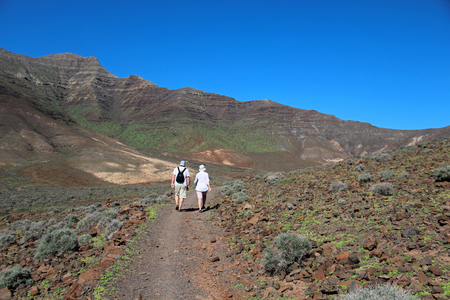 Hiking trails in the mountains near Morro Jable, Fuerteventura, Canary islands, Spain