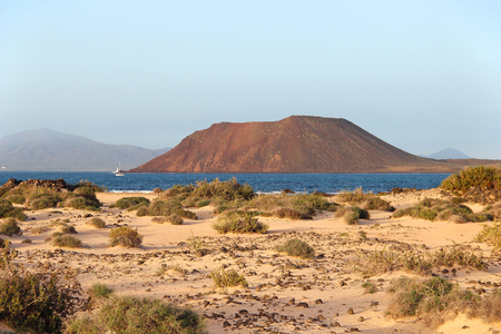 Dunes of Corralejo and Lobos island, Fuerteventura, Canary islands, Spain