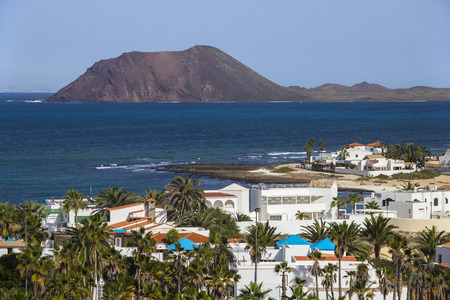 Aerial view of Corralejo and Lobos island, Fuerteventura, Canary islands, Spain
