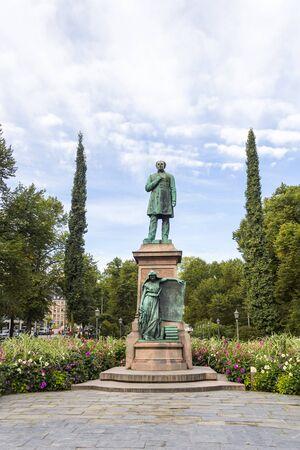 Statue of national poet Johan Ludvig Runeberg in Esplanadi park in Helsinki, Finland