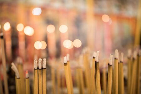 Incense burner in the temple to worship sacred objects Stock Photo