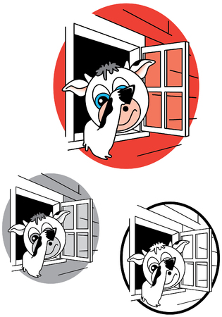 Peek-A-Moo Cow Illustration Stok Fotoğraf