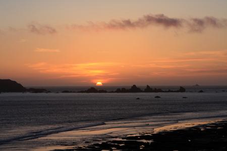 太平洋沿岸の夕日 写真素材