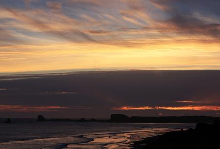 Coastal Sunset on Pebble Beach 写真素材