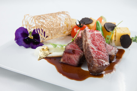 beef with beautiful plating