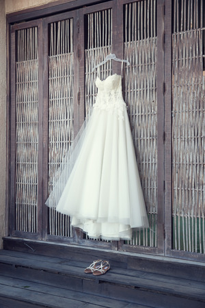 traditional dress: hanging wedding dress