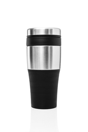 thermos: the thermos water mug made of aluminum material for use hot or cold water into. You can used at home or outdoor on white background