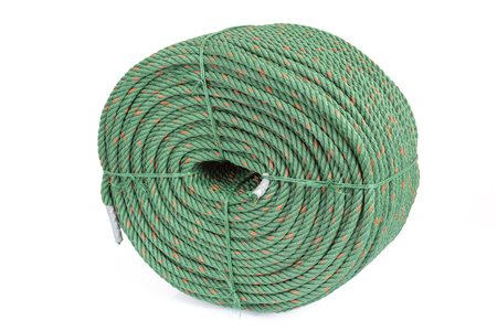 large size: small size of green nylon rope tied with a Large size drop on a white background