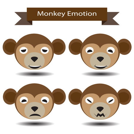 moody: Four Emotion of monkey face show feeling sad, enjoy  and moody