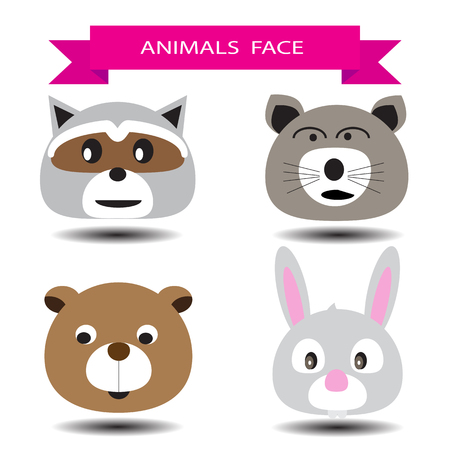 rata caricatura: Cuatro animales diseño de personajes de dibujos animados cara