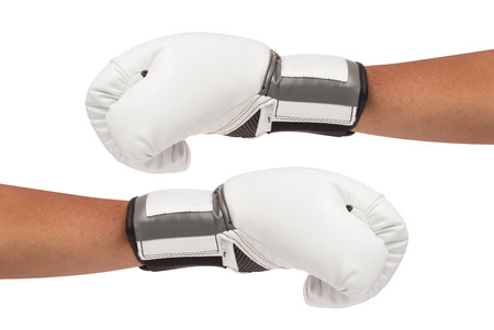boxing glove: White boxing gloves on hands isolated and include path