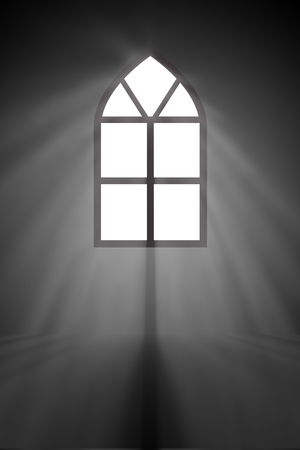 strong light: Abstract of Mysterious window in the ancient church with smoke, shadow and sunray. The Strong light of the sun passes on black and white color.