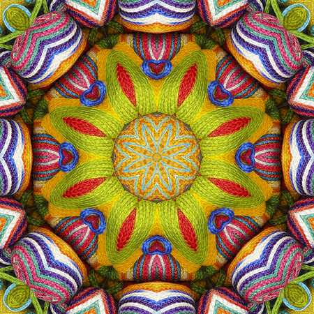 sisal: Abstract background colorful floral pattern kaleidoscope sisal, mandala wallet weave fractal