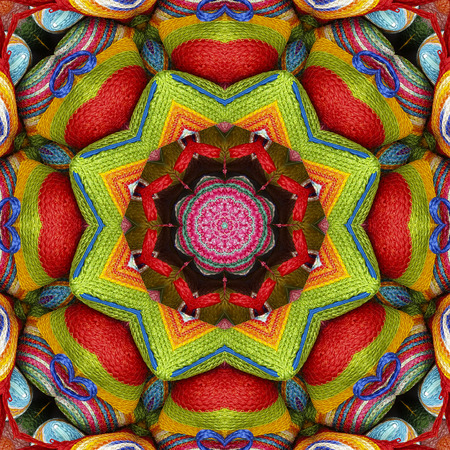 sisal: Abstract colorful pattern kaleidoscope sisal, mandala wallet weave fractal and heart shape