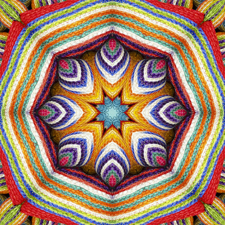 sisal: Abstract background colorful wallet pattern kaleidoscope sisal, mandala weave fractal, snow on center design Stock Photo