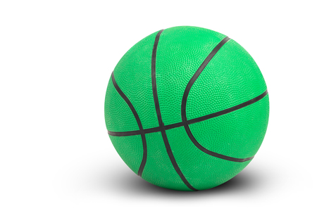 objec: Green basketball on white background and shadow, isolated and include path Stock Photo