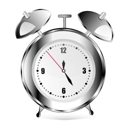Despertador en blanco. Metal. Reloj gris. bien Ilustración de vector