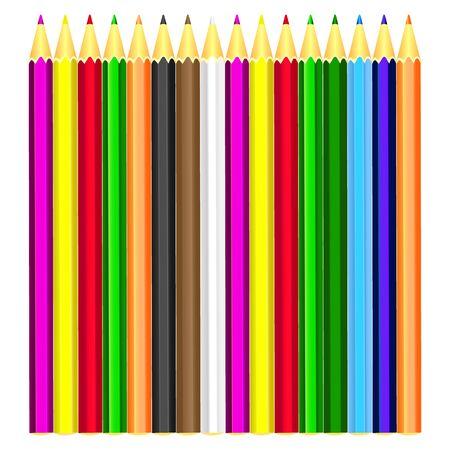 Beautiful colored pencils. background. white Vector Illustratie