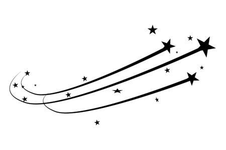 Abstract Falling Star - étoile filante noire avec élégant Star Trail sur fond blanc Vecteurs