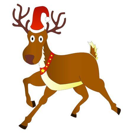 Christmas deer on a white Vecteurs