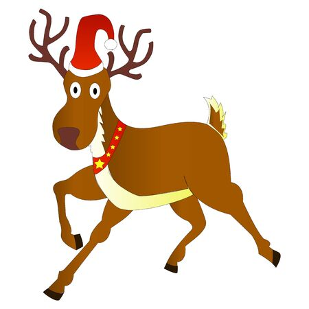 Christmas deer on a white Vetores