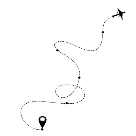 Air plane and its track on white background vector eps holliday vacation travel map pin navigation location pointer icon airplane flight route start line trace mark sign gps flying fly jet airline