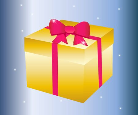 Gift box illustration isolated in flat cartoon style, present paper package with pink ribbon image clipart