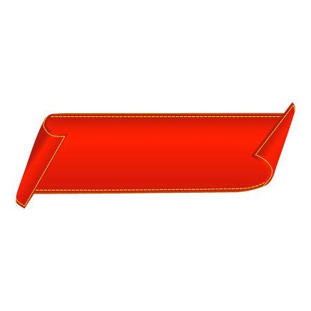 Sale banner. Red curved ribbon isolated on white background. Vector illustration Ilustração Vetorial
