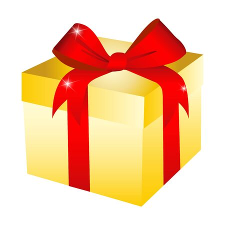 Gift box illustration isolated in flat cartoon style, present paper package with red ribbon image clipart Ilustração