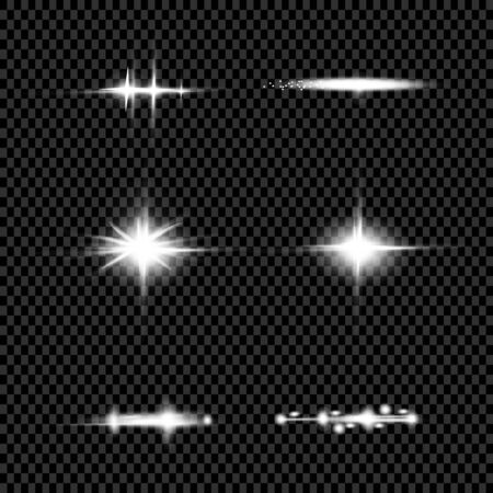 Lights sparkles isolated. Vector illustration of glowing lens flares and sparks.