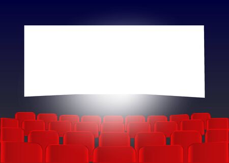 Cinema screen with red seats. Movie premiere poster design. Vector background.