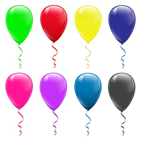 colored balloons on a white background