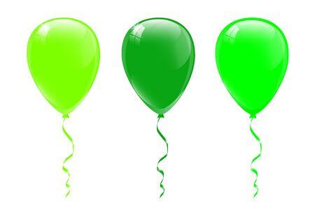 Green balloons, vector illustration.