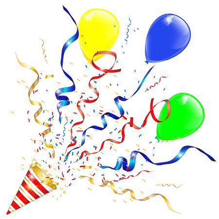 Vector confetti. Festive illustration. Party popper isolated on white background