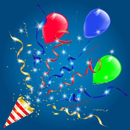 Vector confetti. Festive illustration. Party popper isolated on blue background