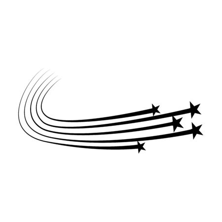 Abstract Falling Star - Black Shooting Star with Elegant Star Trail on White Background Vecteurs