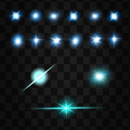 Set of Vector Neon Light Effects. Blue glowing light explodes .Bright Star. Special line flare light effects for design and decor.