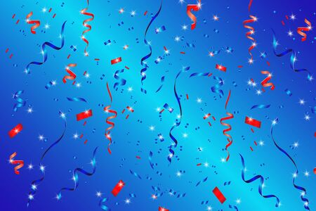 Vector confetti. Festive illustration. Party popper on blue background