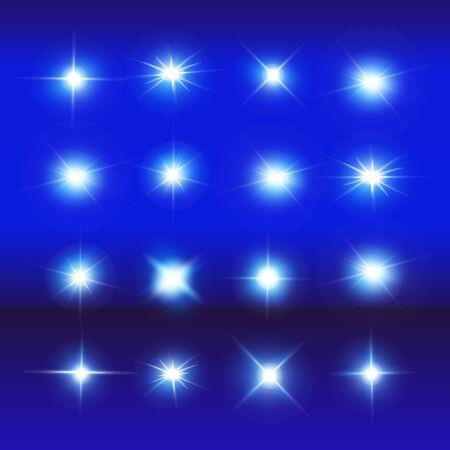 Set of Vector Neon Light Effects. Blue glowing light explodes .Bright Star. Special line flare light effects for design and decor. Blue background. Ilustração Vetorial