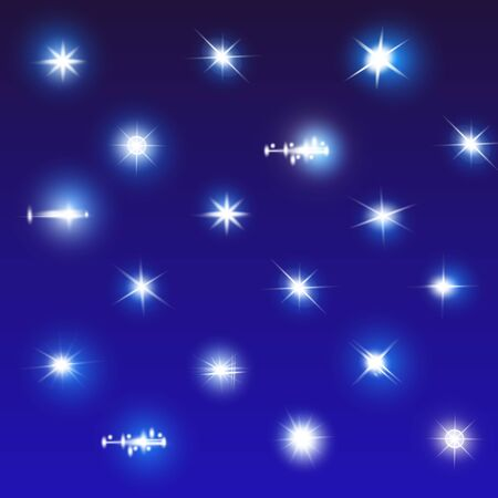 Set of Vector Neon Light Effects. Blue glowing light explodes .Bright Star. Special line flare light effects for design and decor. Blue background. Vettoriali