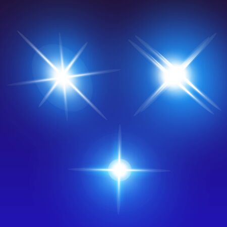 Set of Vector Neon Light Effects. Blue glowing light explodes .Bright Star. Special line flare light effects for design and decor. Blue background.