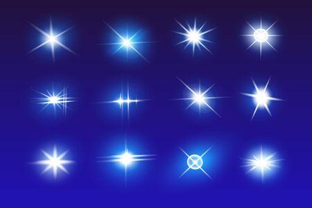 Conjunto de efectos de luz de neón vectorial. La luz azul brillante explota. Estrella brillante. Efectos de luz de bengala de línea especial para diseño y decoración. Fondo azul.