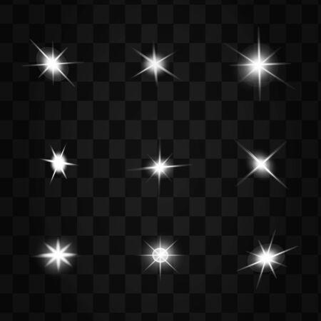 effets de lumière rougeoyante isolés sur fond noir. Flash solaire avec rayons et projecteurs. Effet de lumière luminescente. L'étoile a éclaté d'étincelles.