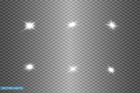 White glowing light explodes on a transparent background. Sparkling magical dust particles. Bright Star. Transparent shining sun, bright flash. Vector sparkles. To center a bright flash Vectores