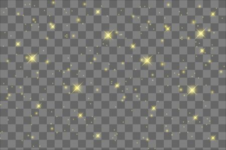 The dust sparks and golden stars shine with special light. Vector sparkles on a transparent background. Ilustrace