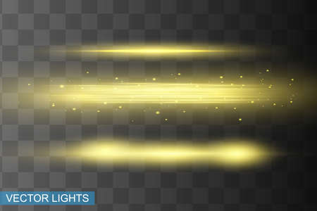 Abstract yellow laser beam. Transparent isolated on black background. Vector illustration.the lighting effect.floodlight directional